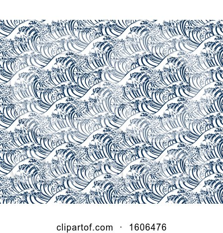 Clipart of a Seamless Japanese Great Wave Repeating Background - Royalty Free Vector Illustration by AtStockIllustration