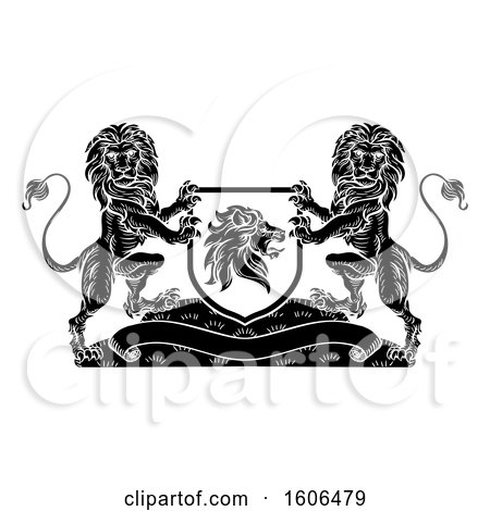 Clipart of a Black and White Heraldic Lions Coat of Arms Crest - Royalty Free Vector Illustration by AtStockIllustration