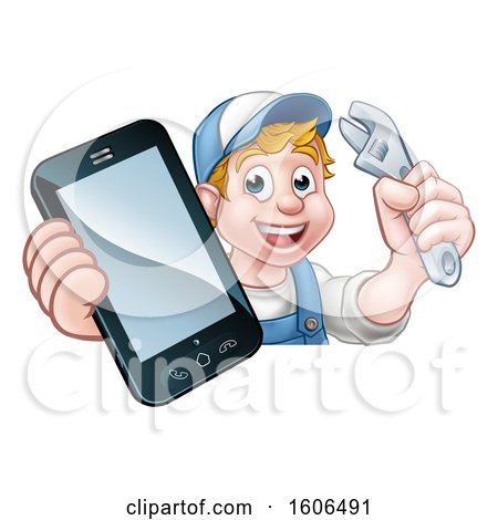 Clipart of a White Male Mechanic Holding a Wrench and Smart Phone over a Sign - Royalty Free Vector Illustration by AtStockIllustration