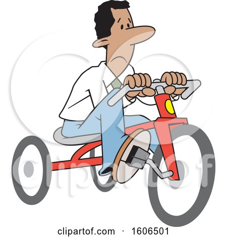 Clipart of a Cartoon Sad Black Business Man Riding a Tricycle to Save Gas Money - Royalty Free Vector Illustration by Johnny Sajem