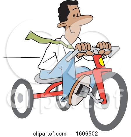 Clipart of a Cartoon Happy Black Business Man Riding a Tricycle to Save Gas Money - Royalty Free Vector Illustration by Johnny Sajem