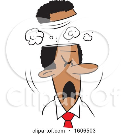 Clipart of a Cartoon Black Business Man Blowing His Top - Royalty Free Vector Illustration by Johnny Sajem