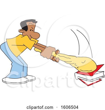 Clipart of a Cartoon Black Man Banging a Club on a Book - Royalty Free Vector Illustration by Johnny Sajem