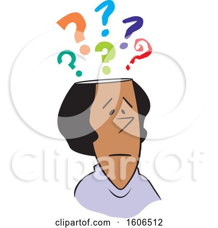 Clipart of a Cartoon Black Woman with Questions - Royalty Free Vector Illustration by Johnny Sajem