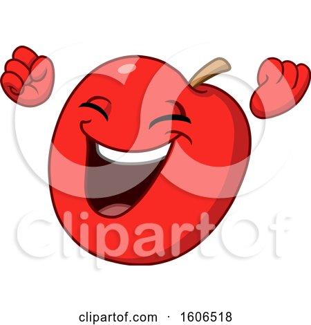 Clipart of a Cartoon Cheering Red Apple Mascot - Royalty Free Vector Illustration by yayayoyo