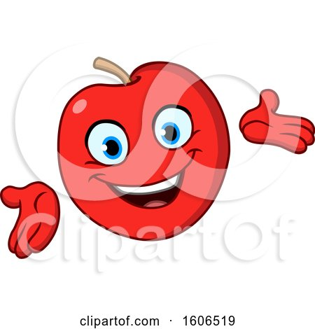 Clipart of a Cartoon Friendly Red Apple Mascot - Royalty Free Vector Illustration by yayayoyo