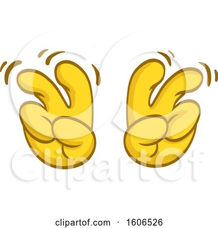 Clipart of a Cartoon Pair of Yellow Air Quote Emoji Hands - Royalty Free Vector Illustration by yayayoyo
