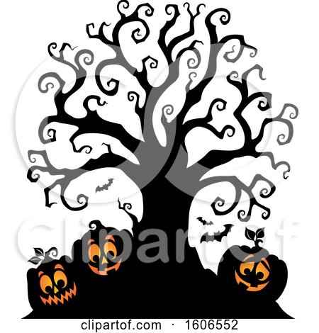 Clipart of a Group of Silhouetted Halloween Jackolantern Pumpkins Under a Bare Tree - Royalty Free Vector Illustration by visekart