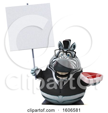Clipart of a 3d Business Zebra Holding a Steak, on a White Background - Royalty Free Illustration by Julos