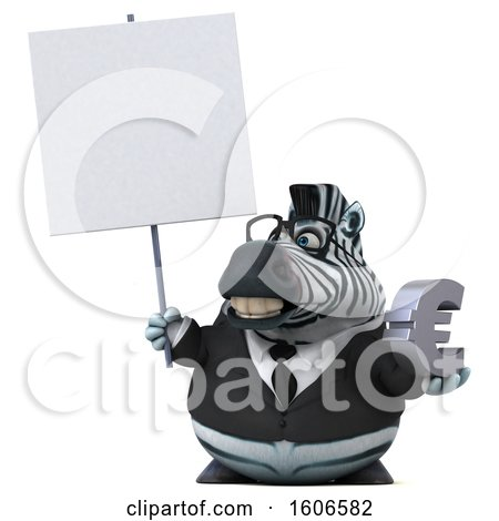 Clipart of a 3d Business Zebra Holding a Euro, on a White Background - Royalty Free Illustration by Julos