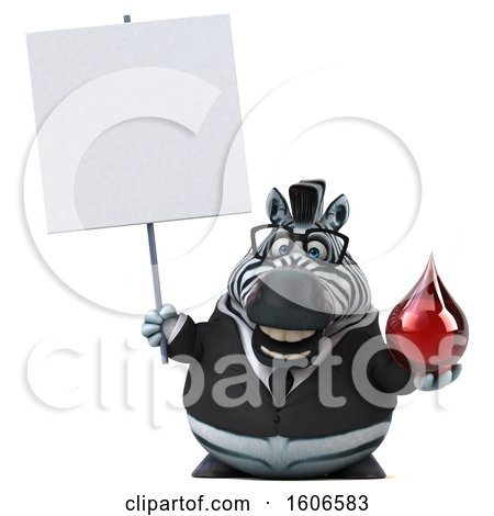 Clipart of a 3d Business Zebra Holding a Blood Drop, on a White Background - Royalty Free Illustration by Julos
