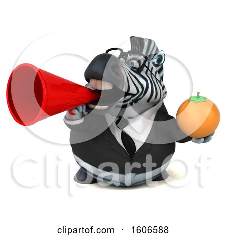 Clipart of a 3d Business Zebra Holding an Orange, on a White Background - Royalty Free Illustration by Julos