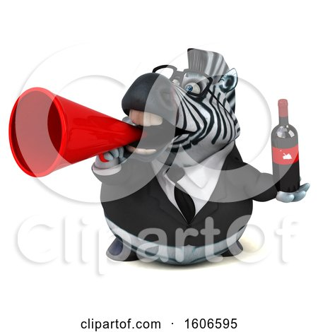 Clipart of a 3d Business Zebra Holding Wine, on a White Background - Royalty Free Illustration by Julos