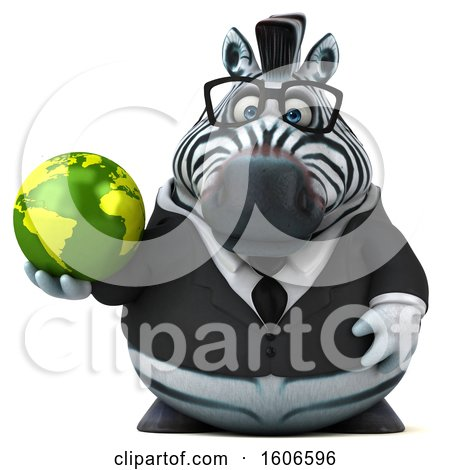 Clipart of a 3d Business Zebra Holding a Globe, on a White Background - Royalty Free Illustration by Julos
