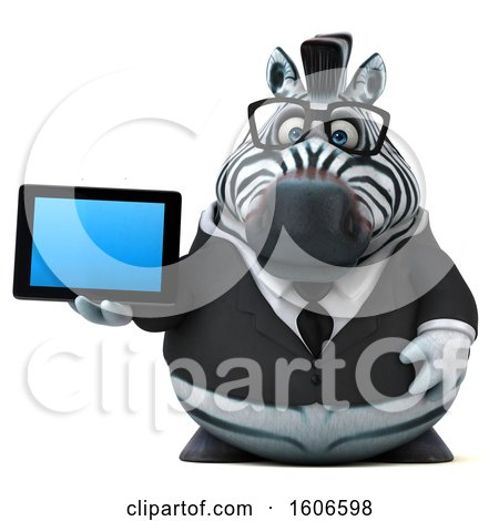 Clipart of a 3d Business Zebra Holding a Tablet, on a White Background - Royalty Free Illustration by Julos