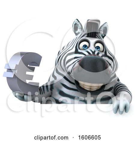 Clipart of a 3d Zebra Holding a Euro Symbol, on a White Background - Royalty Free Illustration by Julos