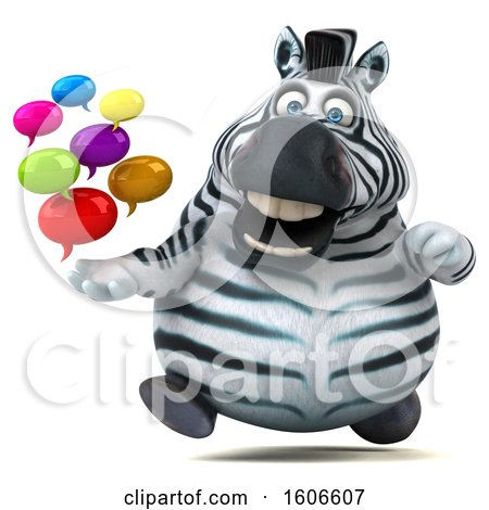 Clipart of a 3d Zebra Holding Messages, on a White Background - Royalty Free Illustration by Julos