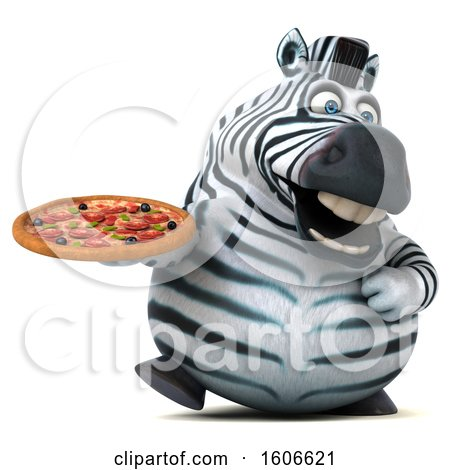 Clipart of a 3d Zebra Holding a Pizza, on a White Background - Royalty Free Illustration by Julos