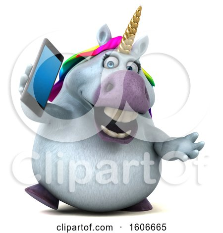 Clipart of a 3d Chubby Unicorn Holding a Cell Phone, on a White Background - Royalty Free Illustration by Julos