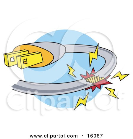 dangerous broken plugin cord to an electrical device Car Travel Clip Art Vintage Travel Clip Art