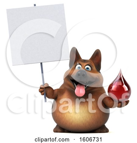 Clipart of a 3d German Shepherd Dog Holding a Blood Drop, on a White Background - Royalty Free Illustration by Julos