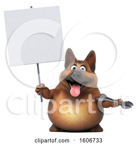 Clipart of a 3d German Shepherd Dog Holding a Wrench, on a White Background - Royalty Free Illustration by Julos