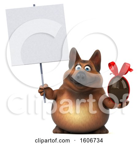 Clipart of a 3d German Shepherd Dog Holding a Chocolate Egg, on a White Background - Royalty Free Illustration by Julos