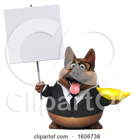 Clipart of a 3d Business German Shepherd Dog Holding a Banana, on a White Background - Royalty Free Illustration by Julos