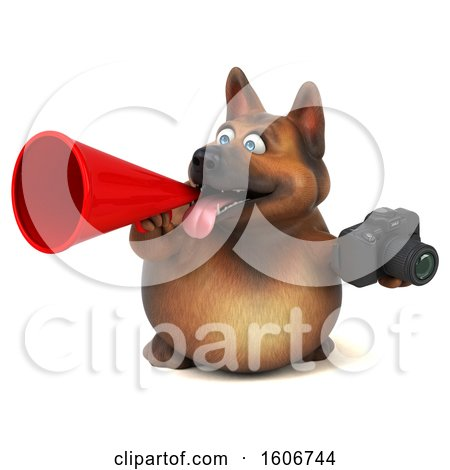 Clipart of a 3d German Shepherd Dog Holding a Camera, on a White Background - Royalty Free Illustration by Julos