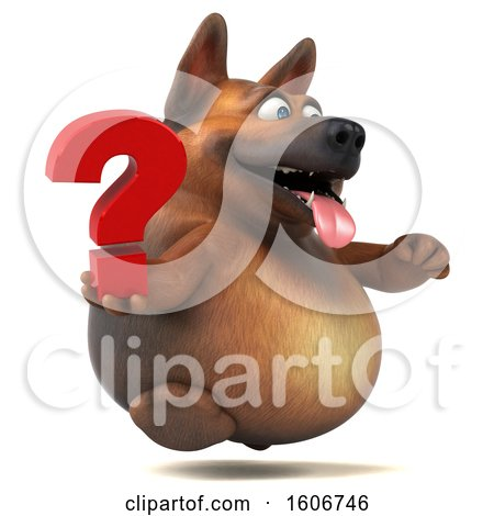 Clipart of a 3d German Shepherd Dog Holding a Question Mark, on a White Background - Royalty Free Illustration by Julos