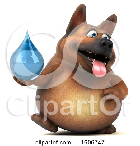 Clipart of a 3d German Shepherd Dog Holding a Water Drop, on a White Background - Royalty Free Illustration by Julos