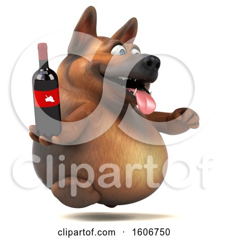 Clipart of a 3d German Shepherd Dog Holding Wine, on a White Background - Royalty Free Illustration by Julos