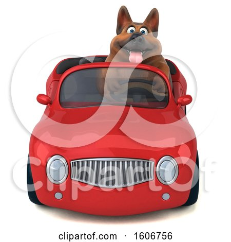 Clipart of a 3d German Shepherd Dog Driving a Convertible Car, on a White Background - Royalty Free Illustration by Julos