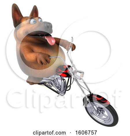 Clipart of a 3d German Shepherd Dog Biker Riding a Chopper Motorcycle, on a White Background - Royalty Free Illustration by Julos