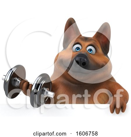 Clipart of a 3d German Shepherd Dog Holding a Dumbbell, on a White Background - Royalty Free Illustration by Julos