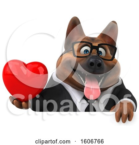 Clipart of a 3d Business German Shepherd Dog Holding a Heart, on a White Background - Royalty Free Illustration by Julos