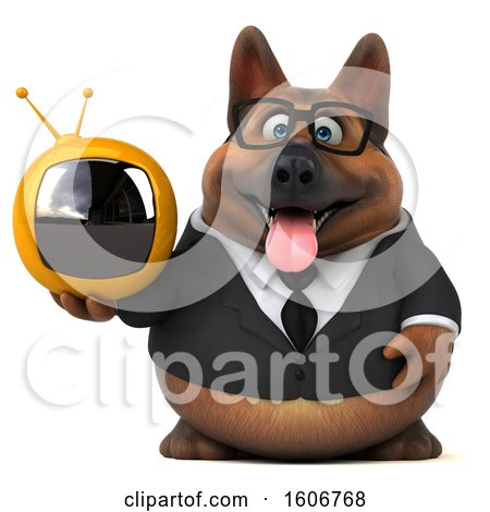 Clipart of a 3d Business German Shepherd Dog Holding a Tv, on a White Background - Royalty Free Illustration by Julos