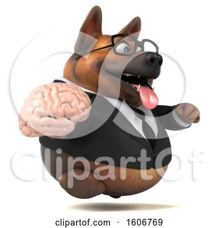Clipart of a 3d Business German Shepherd Dog Holding a Brain, on a White Background - Royalty Free Illustration by Julos