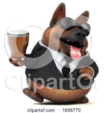 Clipart of a 3d Business German Shepherd Dog Holding a Beer, on a White Background - Royalty Free Illustration by Julos