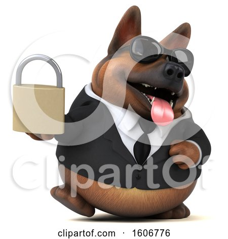 Clipart of a 3d Business German Shepherd Dog Holding a Padlock, on a White Background - Royalty Free Illustration by Julos