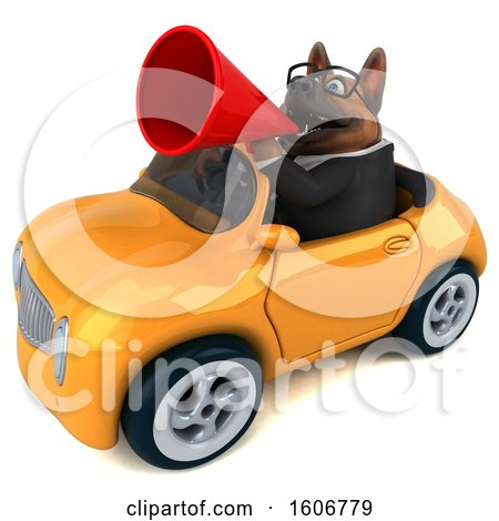 Clipart of a 3d Business German Shepherd Dog Driving a Convertible Car, on a White Background - Royalty Free Illustration by Julos
