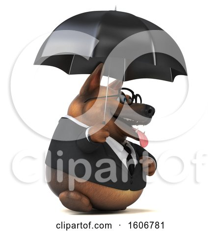 Clipart of a 3d Business German Shepherd Dog Holding an Umbrella, on a White Background - Royalty Free Illustration by Julos