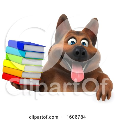 Clipart of a 3d German Shepherd Dog Holding Books, on a White Background - Royalty Free Illustration by Julos