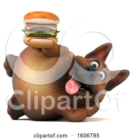 Clipart of a 3d German Shepherd Dog Holding a Burger, on a White Background - Royalty Free Illustration by Julos