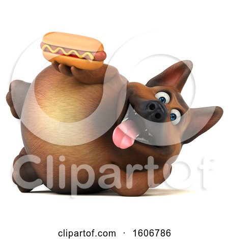 Clipart of a 3d German Shepherd Dog Holding a Hot Dog, on a White Background - Royalty Free Illustration by Julos