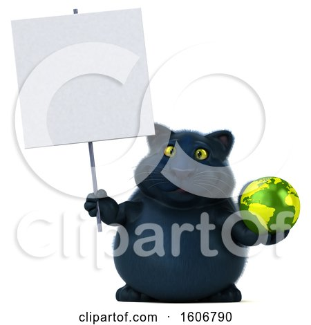 Clipart of a 3d Black Kitty Cat Holding a Globe, on a White Background - Royalty Free Illustration by Julos