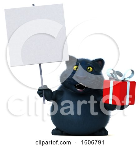 Clipart of a 3d Black Kitty Cat Holding a Gift, on a White Background - Royalty Free Illustration by Julos