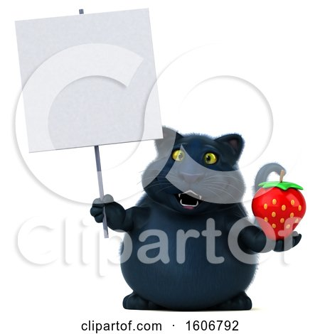 Clipart of a 3d Black Kitty Cat Holding a Strawberry, on a White Background - Royalty Free Illustration by Julos