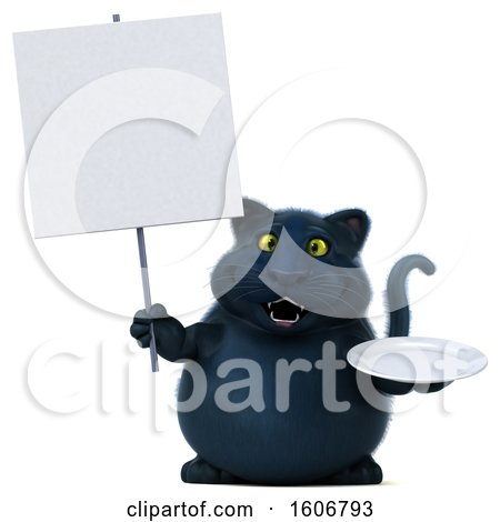Clipart of a 3d Black Kitty Cat Holding a Plate, on a White Background - Royalty Free Illustration by Julos