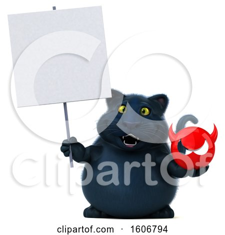 Clipart of a 3d Black Kitty Cat Holding a Devil, on a White Background - Royalty Free Illustration by Julos